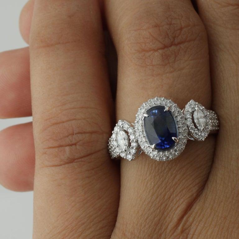 Studio Rêves 1.68 Carat Blue Sapphire and Diamond Ring in 18 Karat White Gold 2
