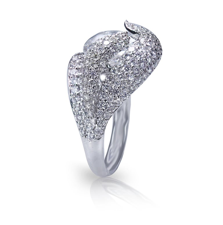 Rose Cut Studio Rêves 18K White Gold and 3.30 Carat Pear Rose cut Cocktail Ring