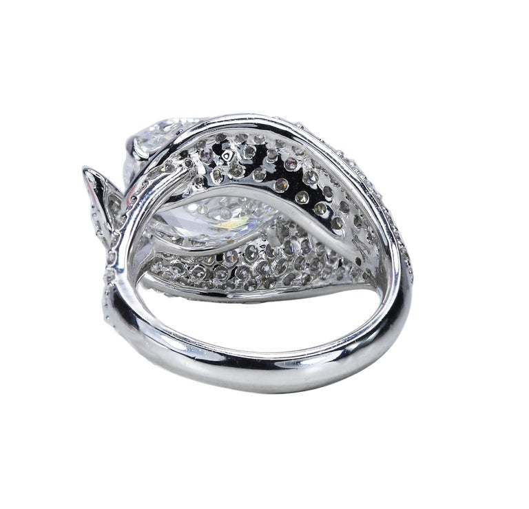 Women's Studio Rêves 18K White Gold and 3.30 Carat Pear Rose cut Cocktail Ring