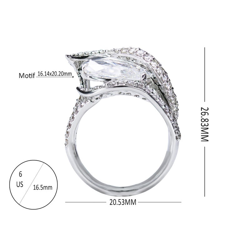 Studio Rêves 18K White Gold and 3.30 Carat Pear Rose cut Cocktail Ring 1