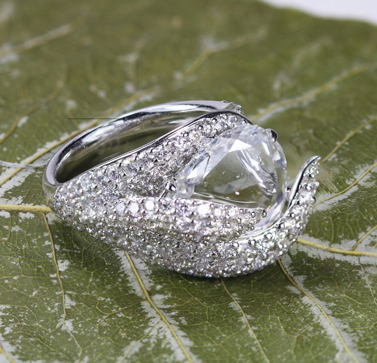 Studio Rêves 18K White Gold and 3.30 Carat Pear Rose cut Cocktail Ring 2