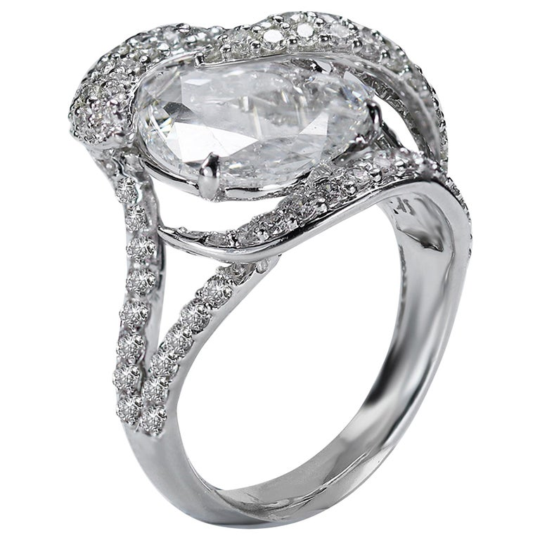 Studio Rêves 18K White Gold and 3.30 Carat Pear Rose cut Cocktail Ring