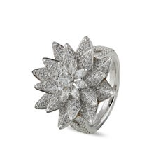 Studio Rêves 18K White Gold Octagonal Floral Cocktail Ring