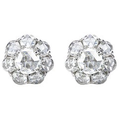 Studio Rêves 18 Karat White Gold Rose cut Stud Earrings