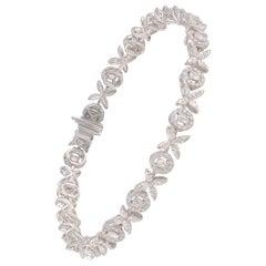 Studio Rêves 3.69 Carat Floral Diamond Tennis Bracelet in 18 Karat Gold