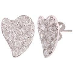 Studio Rêves Abstract Diamond Stud Earrings in 18 Karat White Gold