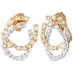 Studio Rêves Asymmetrical-Fancy Rosecut Diamond Stud Earrings in 18 Karat Gold