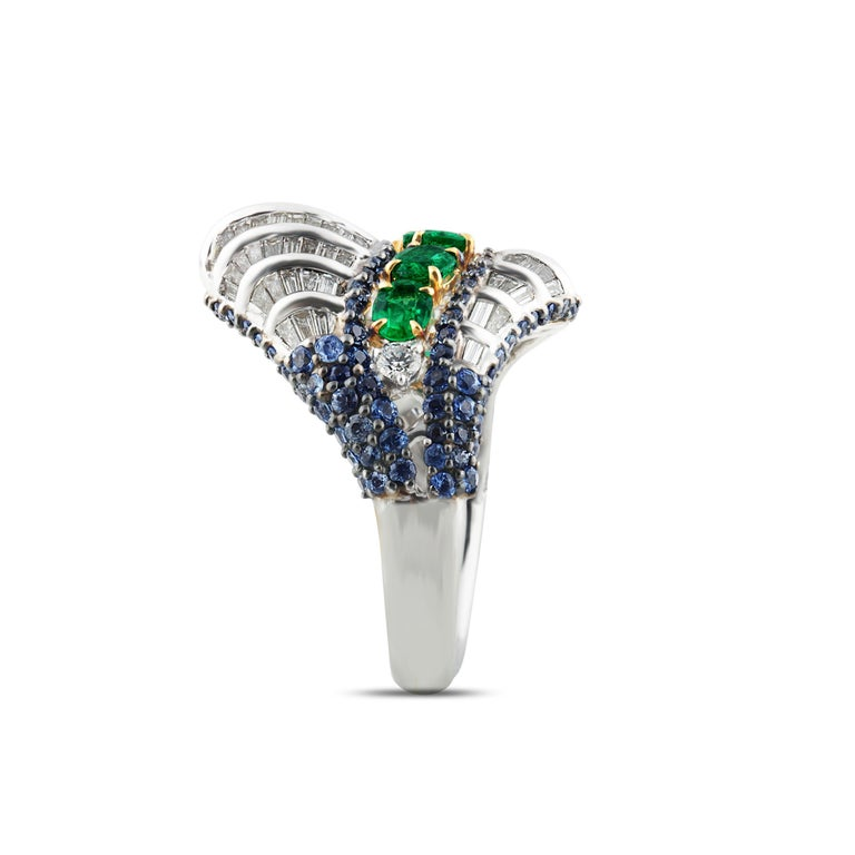 Contemporary Studio Rêves Baguette Diamond with Emerald and Blue Sapphire Wave Cocktail Ring  For Sale