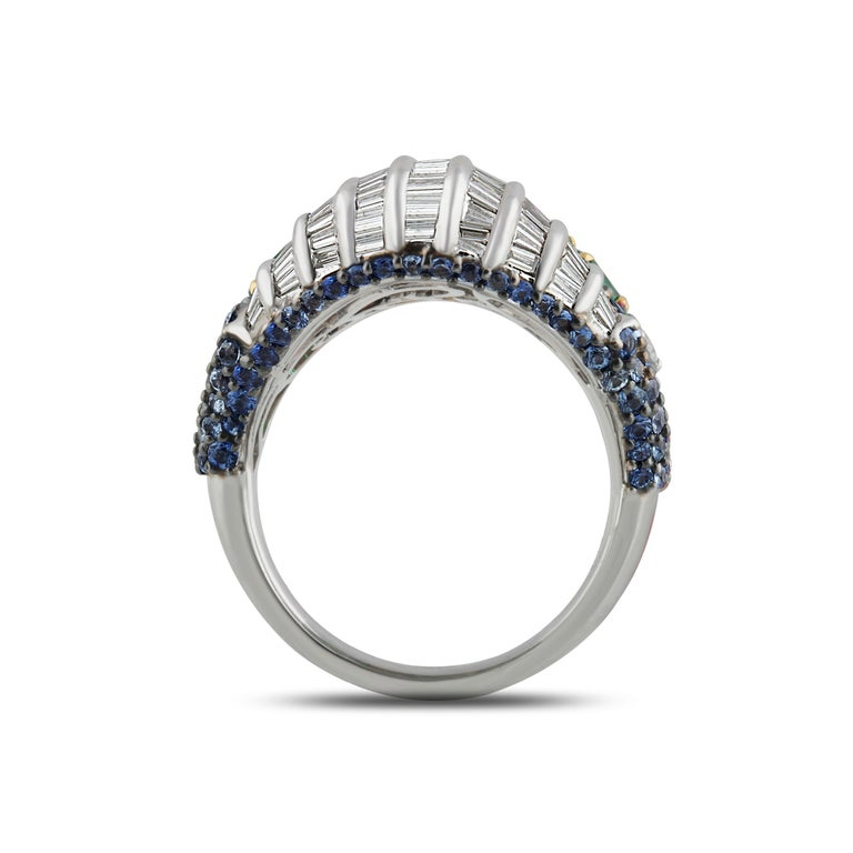 Baguette Cut Studio Rêves Baguette Diamond with Emerald and Blue Sapphire Wave Cocktail Ring  For Sale