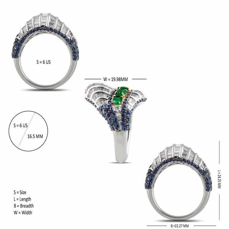 Women's Studio Rêves Baguette Diamond with Emerald and Blue Sapphire Wave Cocktail Ring  For Sale