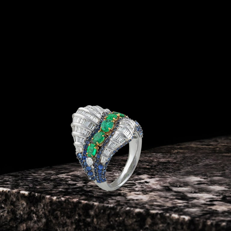 Studio Rêves Baguette Diamond with Emerald and Blue Sapphire Wave Cocktail Ring  For Sale 1