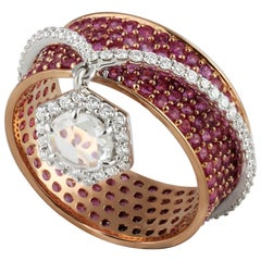 Studio Rêves Band with Diamond and Dangling Rose Cut Round in 18 Karat Gold