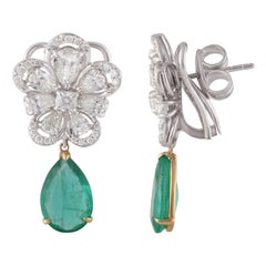 Studio Rêves Blossom Diamond and Emerald Drop Earrings in 18 Karat White Gold