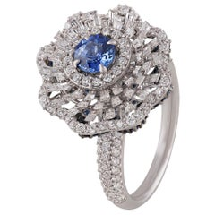 Studio Rêves Blue Sapphire and Baguette Diamonds Cocktail Ring in 18 Karat Gold