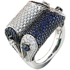 Studio Rêves Blue Sapphire and Diamond Dome Ring in 18 Karat White Gold