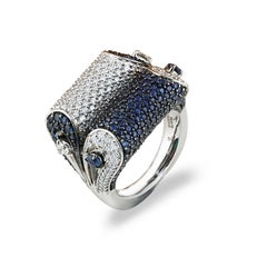 Studio Rêves Blue Sapphire and Diamond Dome Ring in 18K White Gold