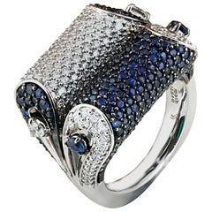 Studio Rêves Blue Sapphire and Diamond Ring in 18 Karat White Gold
