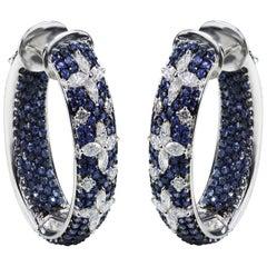 Studio Rêves Blue Sapphire and Marquise Hoop Earrings in 18 Karat White Gold