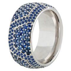 Studio Rêves Blue Sapphire Band Ring in 18 Karat White Gold