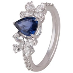 Studio Rêves Blue Sapphire Pear with Fancy and Round Diamond Ring in 18k Gold