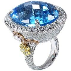 Studio Rêves Blue Topaz and Diamond Cocktail Ring in 18 Karat Gold