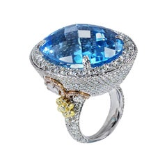 Studio Rêves Blue Topaz and Diamond Fashion Ring in 18 Karat Gold