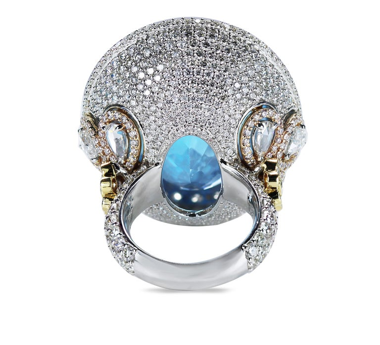 Studio Rêves Blue Topaz and Diamond Ring in 18 Karat Gold For Sale 4