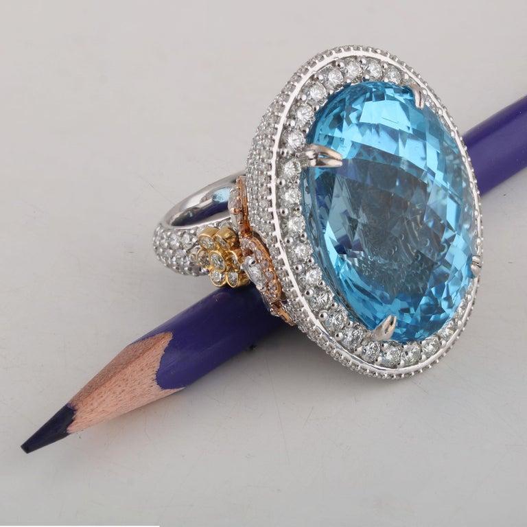 Oval Cut Studio Rêves Blue Topaz and Diamond Ring in 18 Karat Gold For Sale