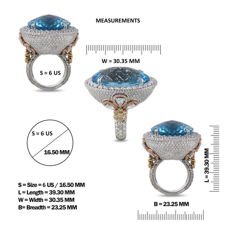 Studio Rêves Blue Topaz and Diamond Ring in 18 Karat Gold In New Condition For Sale In Mumbai, Maharashtra
