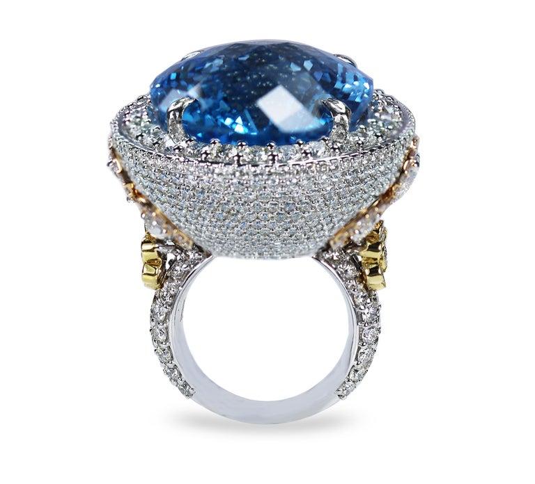 Studio Rêves Blue Topaz and Diamond Ring in 18 Karat Gold For Sale 1