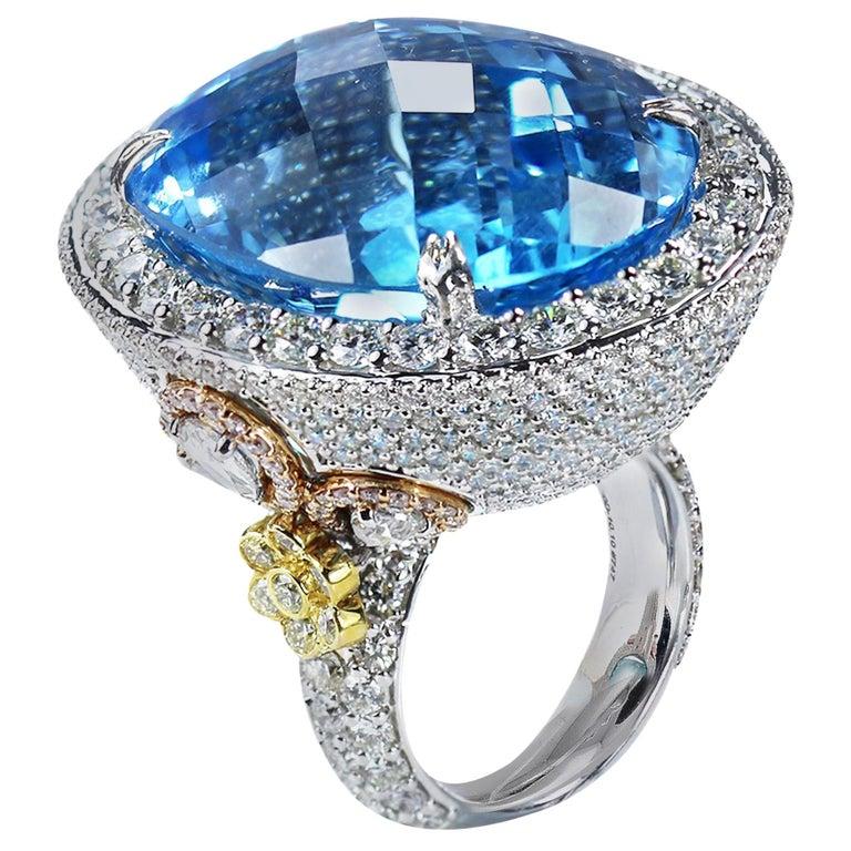 Studio Rêves Blue Topaz and Diamond Ring in 18 Karat Gold For Sale