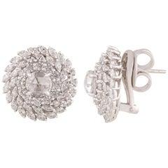 Studio Rêves Brilliant Cut Diamonds and Rose Cut Stud Earrings in 18 Karat Gold