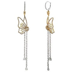 Studio Rêves Butterfly Dangling Earrings in 18 Karat Gold