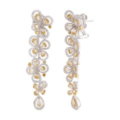 Studio Rêves Charming White and Yellow Floral Diamond Long Earrings in 18K Gold