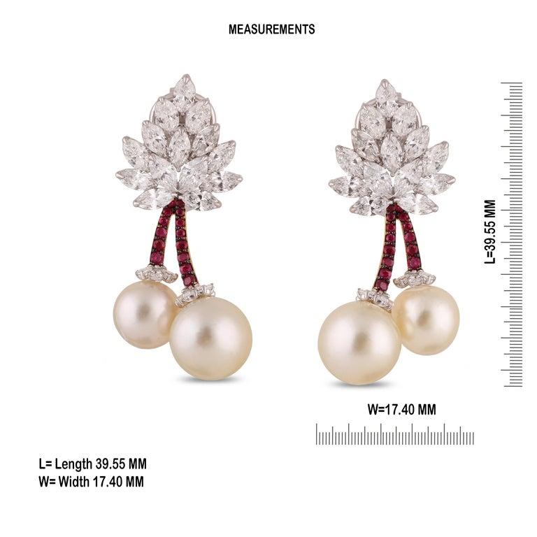 Marquise Cut Studio Rêves Cherry Blossom Diamond Stud Earrings in 18 Karat Gold For Sale