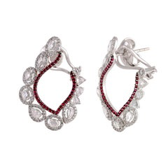 Studio Rêves Chic Diamond and Ruby Earrings in 18 Karat White Gold