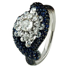 Studio Rêves Cluster Rosecut and Blue Sapphire Diamonds in 18 Karat Gold