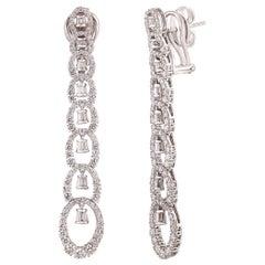 Studio Rêves Contemporary Diamond Dangling Earrings in 18 Karat Gold