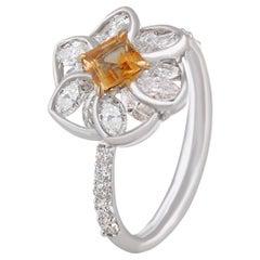 Studio Rêves Dainty Blossom Diamond and Citrine Ring in 18 Karat White Gold