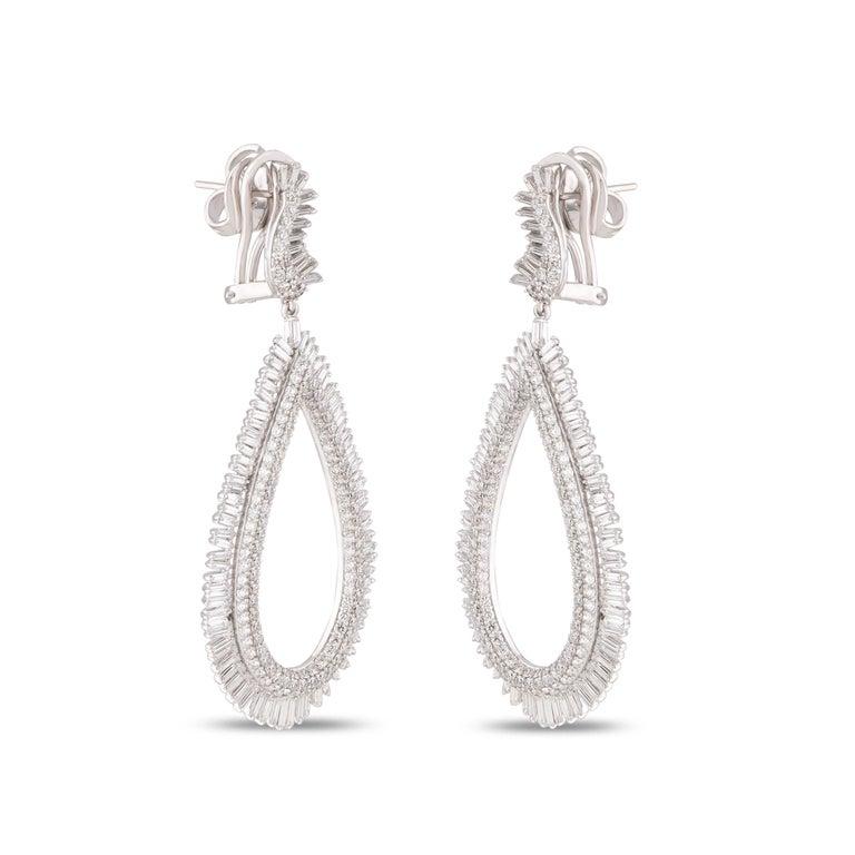 Baguette Cut Studio Rêves Diamond and Baguette Studded Dangling Earrings in 18K White Gold For Sale