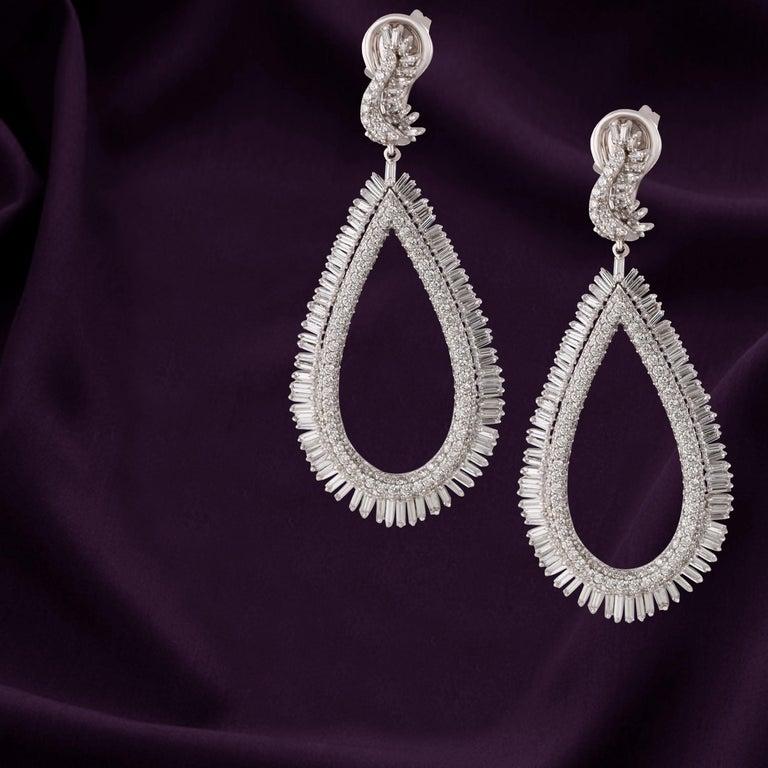 Women's Studio Rêves Diamond and Baguette Studded Dangling Earrings in 18K White Gold For Sale