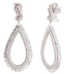 Studio Rêves Diamond and Baguette Studded Dangling Earrings in 18K White Gold