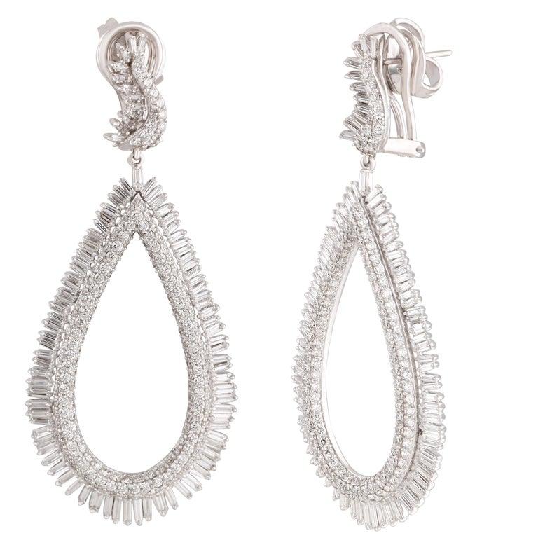 Studio Rêves Diamond and Baguette Studded Dangling Earrings in 18K White Gold For Sale