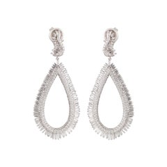Studio Rêves Diamond and Baguette Studded Dangling Earrings in 18K White Gold