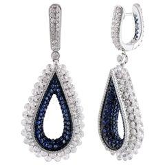 Studio Rêves Diamond and Blue Sapphire Dangling Reversible Earrings in 18K Gold