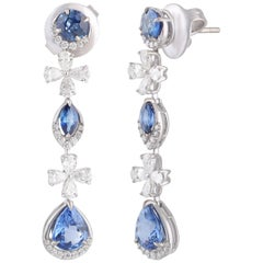 Studio Rêves Diamond and Blue Sapphire Earrings in 18 Karat Gold