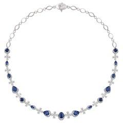 Studio Rêves Diamond and Blue Sapphire Necklace in 18 Karat Gold