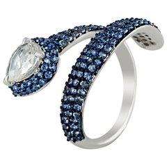Studio Rêves Diamond and Blue Sapphire Serpent Ring in 18 Karat Gold