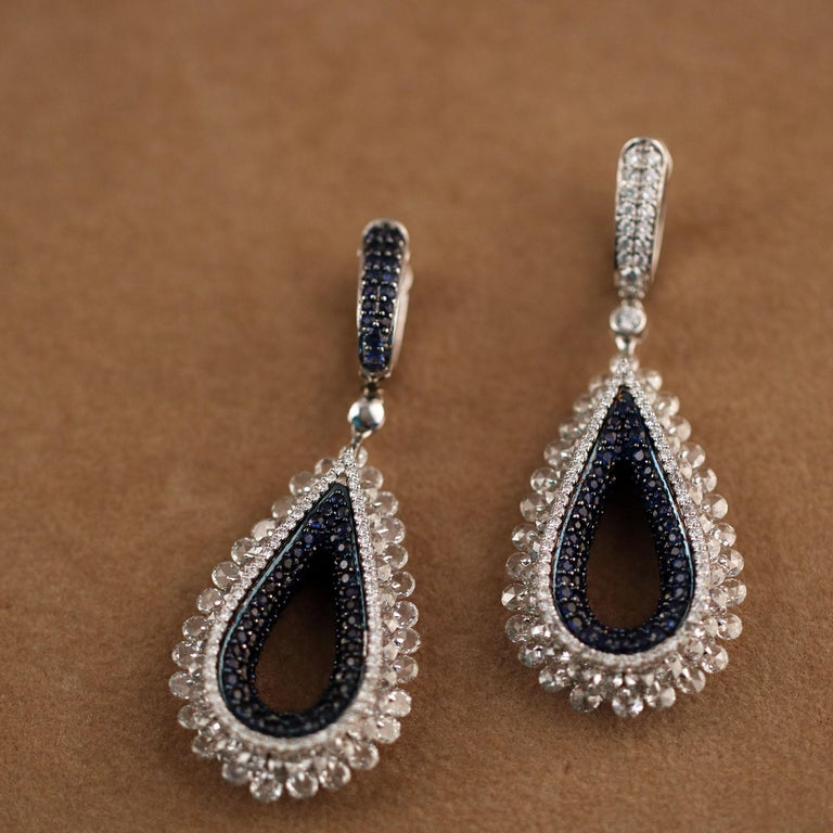 Women's Studio Rêves Diamond and Blue Sapphire Tear Drop Reversible Earrings in 18K Gold For Sale