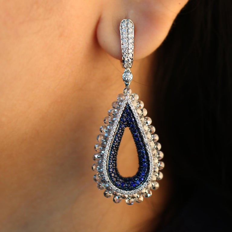 Studio Rêves Diamond and Blue Sapphire Tear Drop Reversible Earrings in 18K Gold For Sale 1